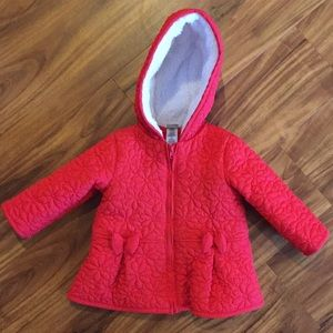 Jacket fleece lined red quilted 12M